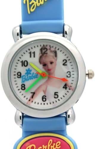 TimerMall Fashion Light Blue Rubber Barbie Pattern Analogue Waterproof Watches