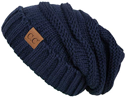 Funky Junque's C.C. Trendy Warm Oversized Chunky Soft Oversized Cable Knit Slouchy Beanie - Navy (Girls Crocheted Dress)