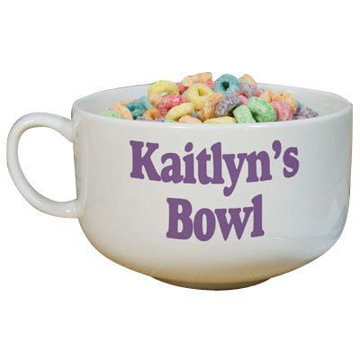 GiftsForYouNow Any Message Personalized Cereal Bowl, 32 oz., (Personalized Ice Cream Bowls For Kids)