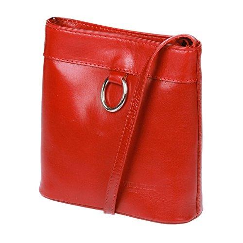 Vera Pelle Damen Umhängetasche Handtasche Leder Weinrot , Borsa Messenger  rosso rosso vivo