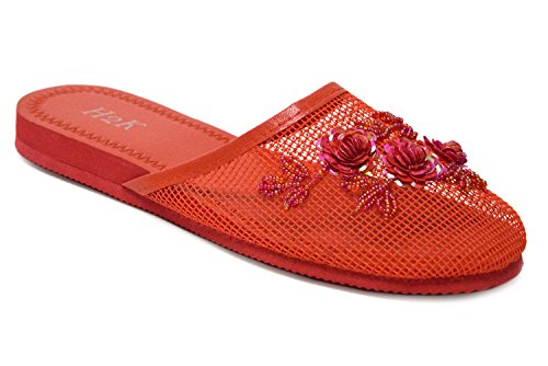 Lightweight Mesh Women's Super Floral H2K 'SYLVIA' Original Slippers with Ventilated Flat Embellishment Red C5XwgIqSg
