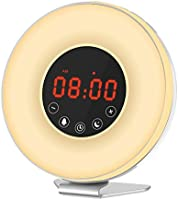 Honxee L6 Wake Up Light Touch Control Alarm Clock Night Light, Sunrise Simulation and Snooze Function for Waking Up, Bedside Lamp with Sunset Simulation and FM Radio,7 Moods Lights Changing