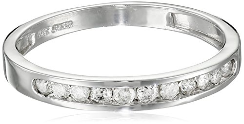 10K White Gold Round Diamond Stack Ring (1/4 cttw), Size 7