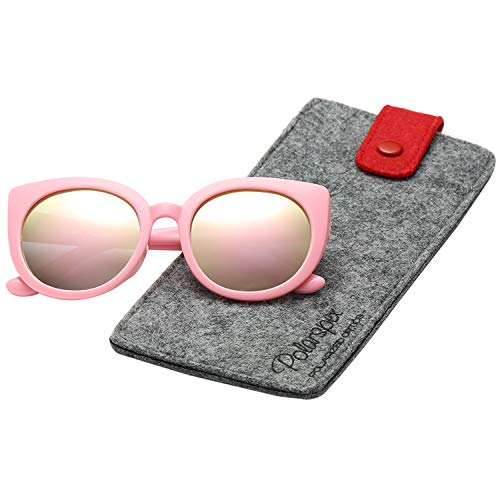 Polarspex Girls Elastic Cateye Kids Toddler Polarized Sunglasses - BPA Free (Princess Pink | Pink ()