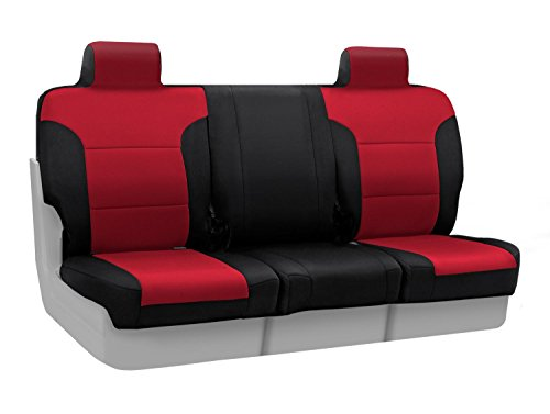 - Coverking Custom Fit Front 40/20/40 Seat Cover for Select Isuzu NPR/NPR-HD/NQR Models - Neosupreme (Red with Black Sides)