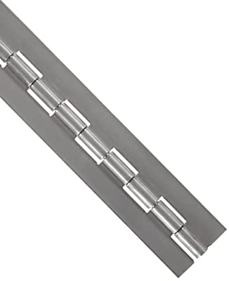 "Stainless Steel 316 Continuous Hinge without Holes, Unfinished, 0.072"" Leaf Thickness, 2"" Open Width, 1/4"" Pin Diameter, 1"" Knuckle Length, 8' Long (Pack of 1)"