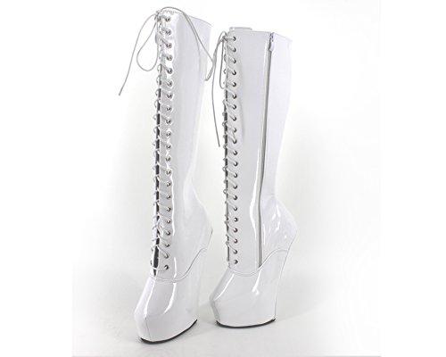 Wonderheel 20cm heelless sexy plateforme knee high lacets bottes cuir blanc verni bottes femme