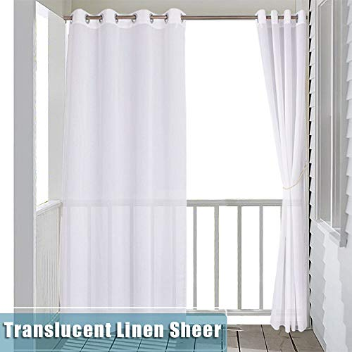RYB HOME Sheer Curtain for Patio - Indoor Outdoor Curtain White Linen Look Semitransparent Privacy Drape for Gazebo/Cabana with Free Tieback Rope, Wide 54 by Long 84 Inch,1 Panel ()