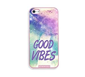 Shawnex Good Vibes Hipster Quote Lilac Pink Plastic iPhone 5 & 5S Case - Fits iPhone 5 & 5S