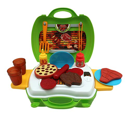 Forest & Twelfth Kids Barbecue Play Set - Colorful Pretend Play Set for Kids-Educational Toy Set Perfect for Role Playing Mini Barbecue Set for Improvement of Imaginative, Social & Motor Skills