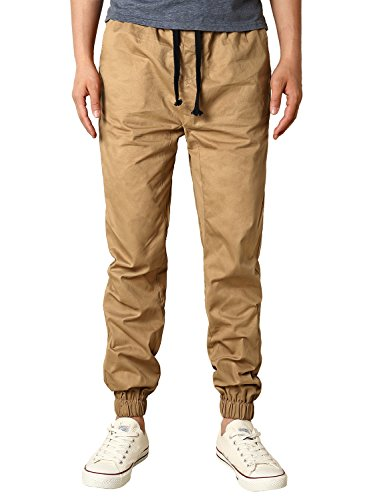 HEMOON Mens Regular Fit Twill Chino Jogger Pants Medium P06-Khaki