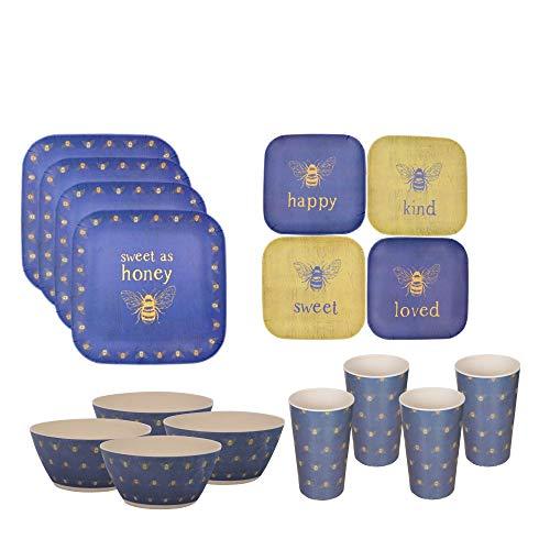 Bee Dish Set   16 Piece Bamboo Dinnerware Plates, Bowls, Cups