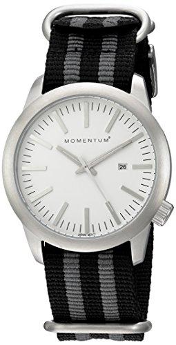 Momentum Men's Stainless Steel Japanese-Quartz Watch with Nylon Strap, Black, 0.87 (Model: 1M-SP10W7S