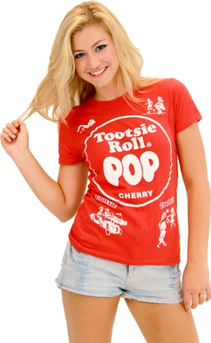 Tootsie Roll Pop Assorted Cherry Red Costume T-shirt (Red) (Juniors -