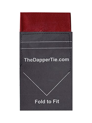 TheDapperTie - Men's Solid Flat Pre Folded Pocket Square on Card - Burgundy by TheDapperTie