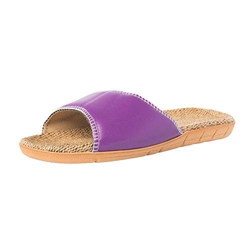 slip Linen Haisum Sandals Summer Women's Purple Sweat Toe Open Flat House Cool Absorb Slippers Pu Non Leather rvvEngwZqf