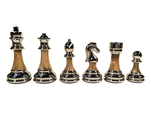 WE Games The Bobby Fischer Series Metal & Acrylic Chess Pieces - 3.5 inch King