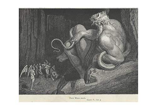 5 Four Matte Canto - Spiffing Prints Gustave Doré - Dante's Inferno - Canto 5 Line 4 Minos - Large - Matte - Framed