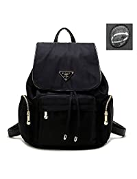 Artone Women's Water Resistant Nylon Classic Daypack Drawstring Backpack with Backside Anti-Theft Pocket Black