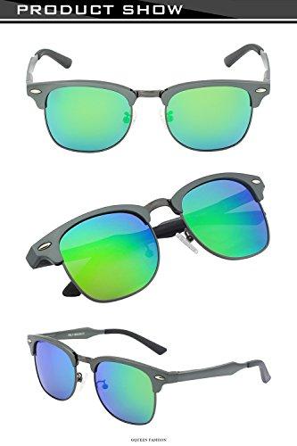lunettes Retro UV400 Frame 2 Protection soleil Mg Al Hommes Gris GQUEEN MS0 polarisées Vert de q4xSRXR