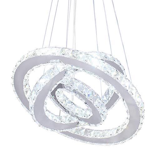 (Dixun LED Modern Crystal Chandeliers 3 rings LED Ceiling Lighting Fixture Adjustable Stainless Steel Pendant Light for Bedroom Living Room Dining Room(White) )