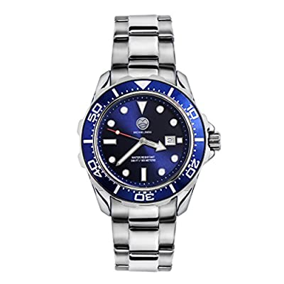 "Michael Zweig ""Pro Acqua"" Mens 100 Meter Water Resist Stainless Steel Band Casual Sport Watch"