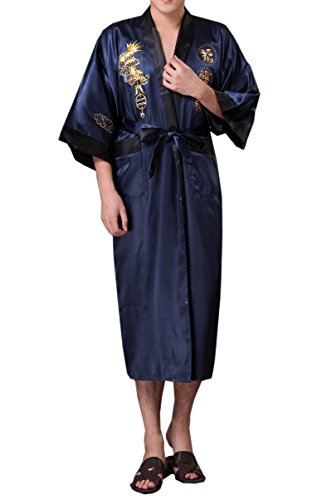 (SexyTown Long Satin Lounge Bathrobe Classic Print Kimono Bobe Nightgown X-Large Blue-Black(Reversible))