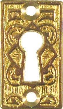 Cast Brass Eastlake Style Keyhole Cover Cabinet, Dresser, Desk Drawers Vintage Old Furniture Restoration Hardware + Free Bonus (Skeleton Key Badge) B-0265