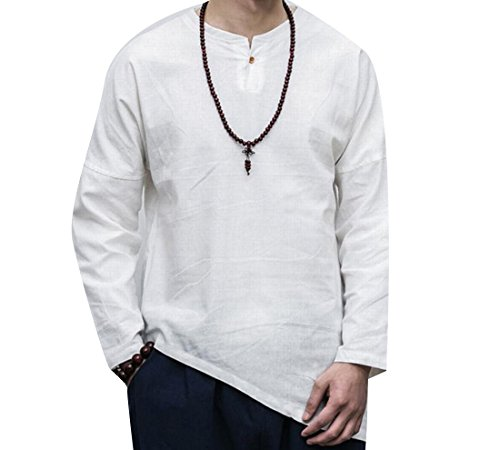 Nicelly Mens Linen Cotton Long Sleeve Summer Pullover Tee Shirts White L