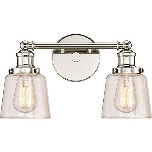- Quoizel UNI8602PK Union Industrial Bath Vanity Wall Lighting, Lights 2-Light, 200 Watts, Polished Nickel (9