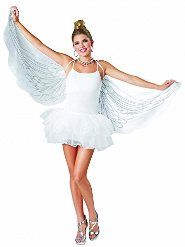 Seasons USA Angel Cape Wings White With Silver Glitter Adult Halloween Costume - Usa Wings