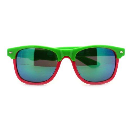 Unisex Hipster 2 Tone Half Rim horned Pop Color Sunglasses Green - 2 Sunglasses Dj