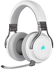 Corsair Virtuoso RGB trådlöst spelheadset med hög Fidelity (7.1 surroundljud, hörlurar med minnesskum för hörlurar, mikrofon med PC, Xbox One, PS4, Switch och mobil kompatibilitet) – vit