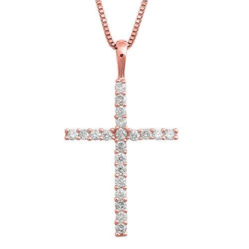 1/4 Ct Diamond Cross Pendant (IGI Certified 14K Rose Gold Cross Diamond Pendant Necklace (1/4 Carat))