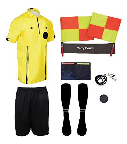 (New! 2018 Pro Soccer Referee Package (9 Piece) (Yellow, Adult XXL))