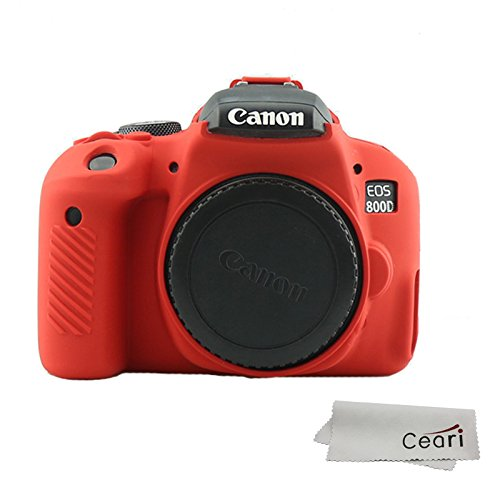 CEARI Silicone Camera Case Rubber Housing Protective Cover for Canon EOS 800D Rebel T7i Digital SLR Camera - Red ()