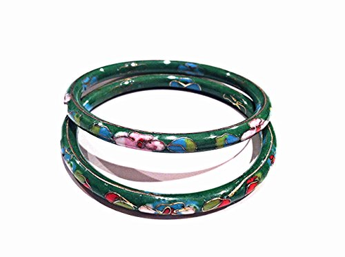 One Pair of Vintage Traditional Chinese Cloisonne Bangle Bracelet Green Color