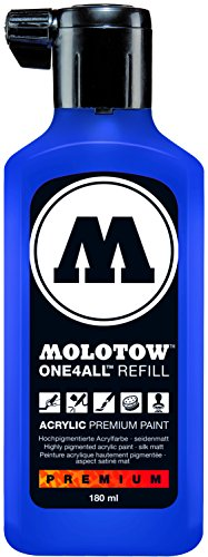 Molotow ONE4ALL Acrylic Paint Refill, For Molotow ONE4ALL Paint Marker, True Blue, 180ml Bottle, 1 Each (692.204)