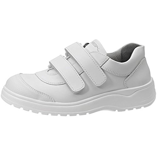 Abeba S-Schuh light Halbschuh weiss, Glattleder, KLETT, CE, EN ISO 20345:2011, S2 Gr. 48 Weiß