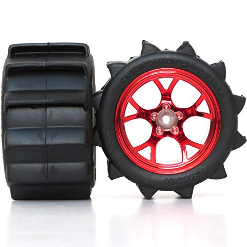 - hobbysoul 2pcs RC 2.2 Paddles Tires Sand Mud Snow Tyre 94mm Height & 2.2 Truck Wheel Rims hex 12mm Red Color