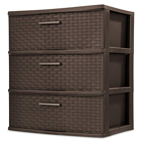 Sterilite 25306P01 3 Drawer Wide Weave Tower, Espresso Frame & Drawers with Driftwood Handles, 2-Pack by Sterlite