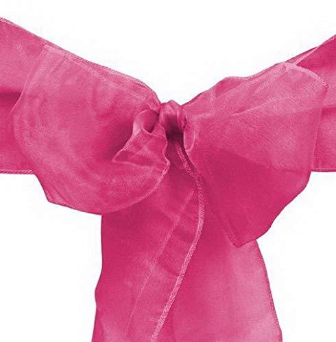 (Mikash 10/20/50/100 8x108 Organza Chair Cover Sash Ribbons Bow Wedding Banquet Decor | Model WDDNGDCRTN - 28341 | 100)