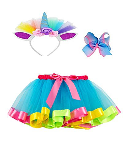 Layered Rainbow Tutu Skirts with Unicorn Horn Headband Outfits for Little Girls