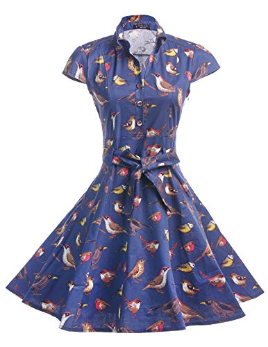 BI.TENCON Women's 1950s Navy Blue Retro Dresses Cap Sleeve Vintage Collar Swing Shirt Dress M