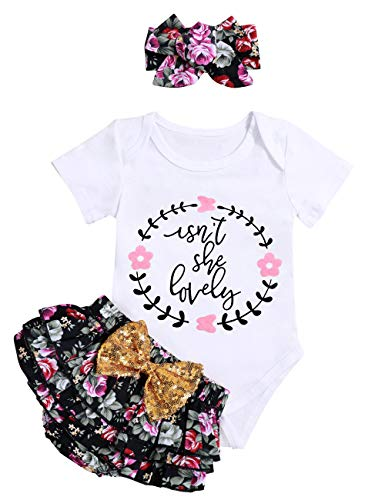Isnt She Lovely Infant Newborn Baby Girl Outfit Short Sleeve Cotton Print Romper Floral Bloomers with Headband (0-3M)