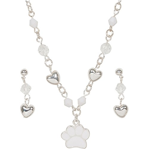 Heirloom Finds Girls Puppy Dog White Paw Print Animal Rescue Necklace Set (Necklace Animal Print Set)