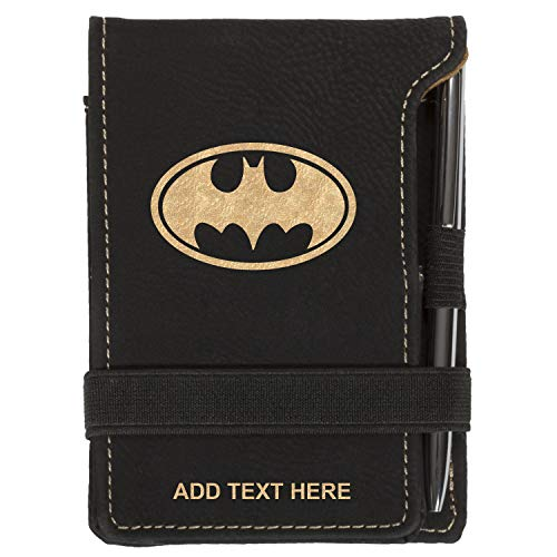 Personalized Mini Notepad Holder Set - Pocket Memo Pad Jotter Notebook Case - Includes Mini Note Pad & Pen to Jot Notes and Writing To Do List - Batman Bat Symbol, Black & Gold