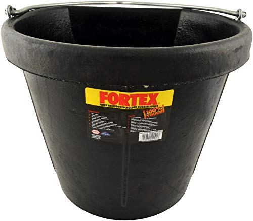 Fortex Flat Side Feed Bucket for Horses, 18-Quart
