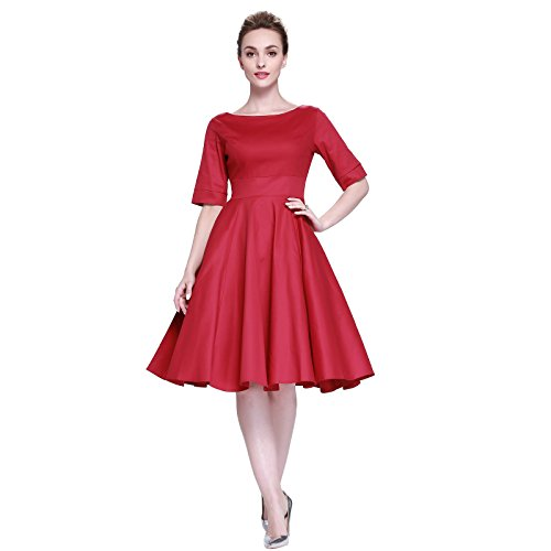1950s Dresses Costume (Heroecol Vintage 1950s 50s Dress Style Retro Rockabiily Cocktail L RD)