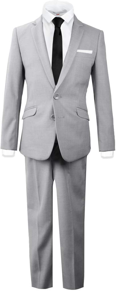 Black n Bianco Signature Boys' Slim Fit Suit Complete Outfit (16, Light Gray)
